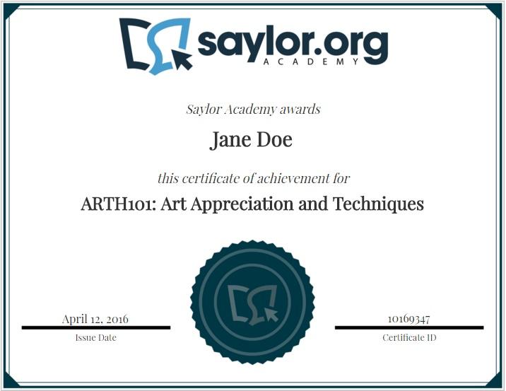 saylor certificate